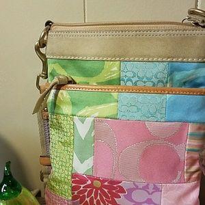 Cute Pastel Patchwork purse w/long strap